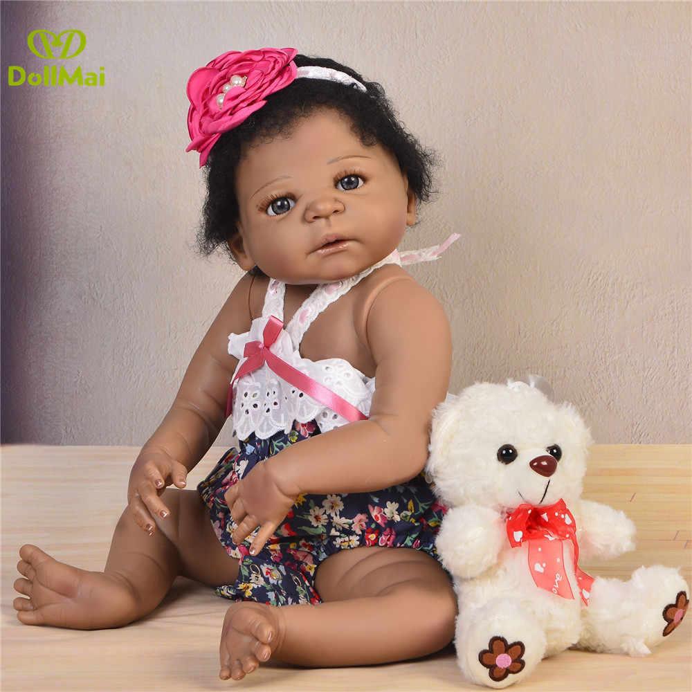 """Черная кожа для новорожденных, для девочек куклы 23 дюйма 57 см полный силиконовые перерожденные куклы младенцы, """"Принцесса"""" для деток с года до трех куклы можно купаться ребенка bebe подарков"""