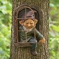 Мини Ремесла сада украшения гном оставь окно причудливые дерево Декоративная скульптура для Сада Садовый Гном напольный орнамент