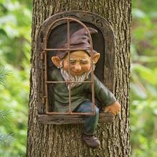 Mini décoration artisanale de jardin Gnome quitter la fenêtre Sculpture d'arbre fantaisiste décoration de jardin Gnome ornement d'extérieur