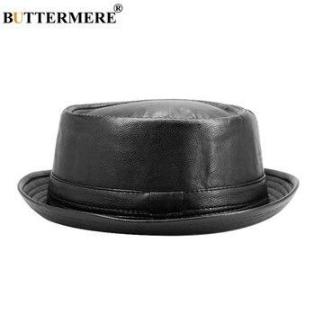 BUTTERMERE Men Black Leather Trilby Hat Male Fedora Cap Retro Women Autumn Brand Porkpie Hat Men's Vintage Jazz Hats