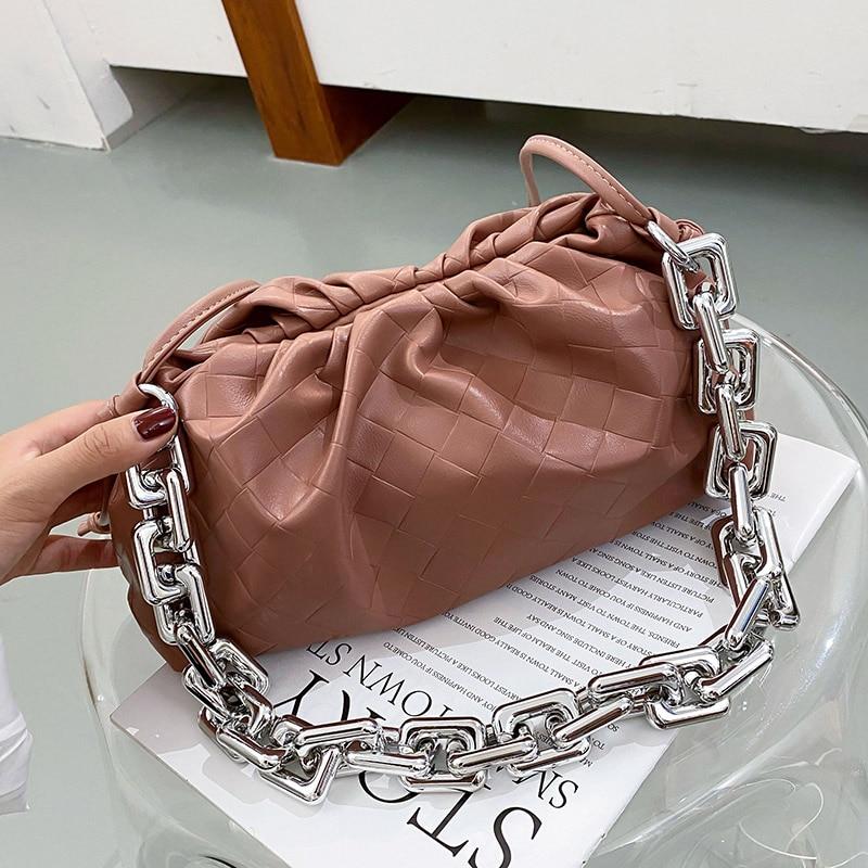 Thick Chain Small PU Leather Hand Bags for Women 2021 Women's Bag Trend Handbags Crossbody Shoulder Bag Desingner Hand Bag