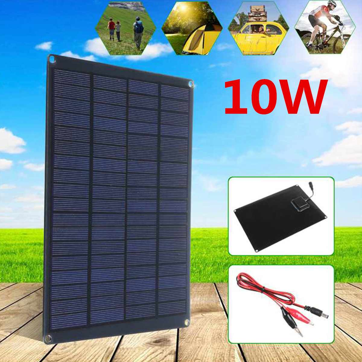 10W 12V Solar Panel Monocrystalline Silicon 5A 18V Waterproof High Efficiency Solar Cells for Outdoor Camping Hiking Charger image