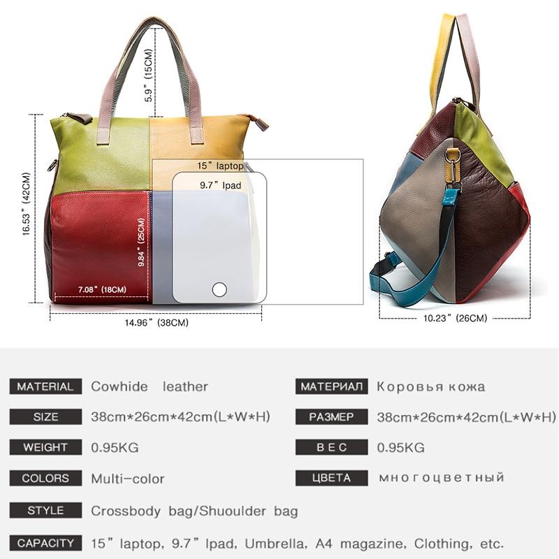 Image 3 - WESTAL handbags womens genuine leather large bag for women  messenger/shoulder bags patchwork handbags leather totes bags  9135Top-Handle Bags