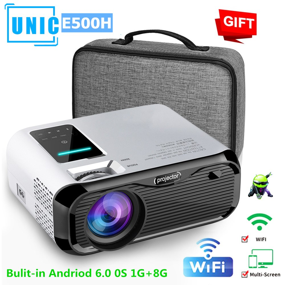 E500H Mini Projector Full-HD 1080P Projector WIFI Connect Phone 1280x800P Resolution Beamer 6000lumens 4K Proyector Home Theater