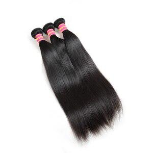 Image 4 - Ali kraliçe saç 3/4 adet brezilyalı düz Remy insan saç demetleri ile kapatma 4x4 şeffaf dantel kapatma demetleri ile
