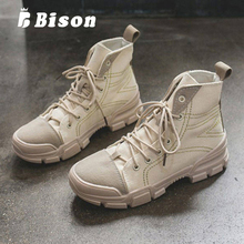 Bison Womens Snow Boots Winter Warm High Shoes Ladies Solid Color Martin Female Cotton Thick Bottom Short