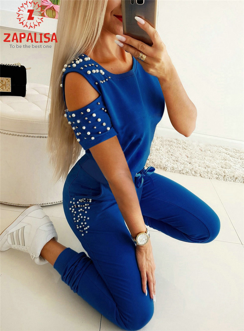 Sport Style Women Summer Casual 2 Piece Sets Hollow Out Deisgn Bandage Beading Decor O-Neck Short Sleeve Solid Slim Outfits