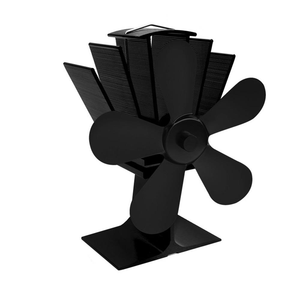 Black Stove Fan 5 Blade Fireplace Fan Heat Powered Komin Wood Burner Eco Fan Friendly Quiet Home Efficient Heat Distribution
