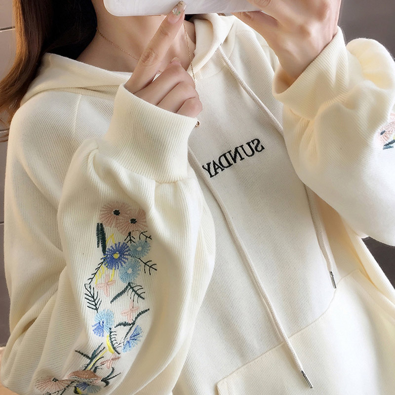 2020 Spring Korean Women's Sweatshirt Embroidery Lantern Sleeve Casual Oversize Hoodies Women Fashion Loose Sweatshirts Female