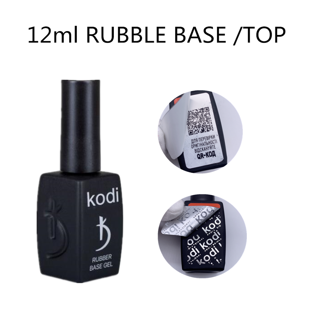 KODI GEL professional 12ML Rubber Base Coat Gel Varnish UV Nail Primer RUBBLE Top Coat Hybrid Semi Permanent Gel image