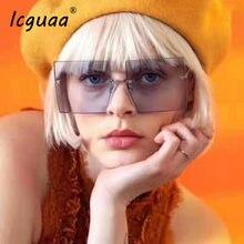 Женские затемненные очки без оправы квадратные солнцезащитные