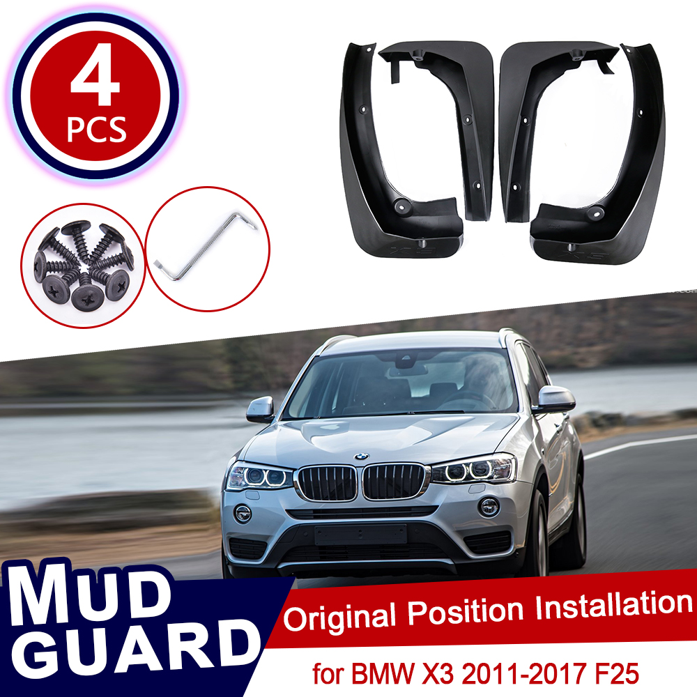 4Pcs Set For <font><b>BMW</b></font> <font><b>X3</b></font> F25 2011~<font><b>2017</b></font> Car Mud Flaps Mudguard Splash Guards Fender Mudflaps Flap <font><b>Accessories</b></font> 2012 2013 2014 2015 2016 image