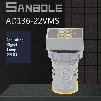 цена на LED Mini Voltmeter Power Supply Indicator Light Signal Lamp Number Show 220V Square Circle Voltage Surface 22mm High Lights