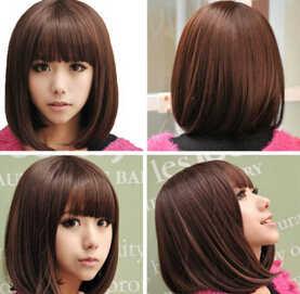 002291 女性ボブショートストレート茶合成前髪コスプレ女性かつら