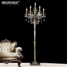 Vintage Crystal Floor Lamp Stand Light Fixture Cristal Candelabra Standing High Quality Decoration Lighting