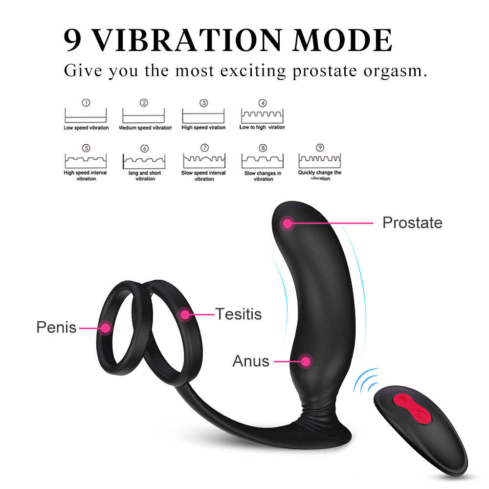 Мужской мастурбатор, Анальный вибратор, силиконовый мужской массажер простаты, стимулятор, Анальная пробка, задержка эякуляции, кольцо, секс-игрушки для мужчин
