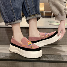 COOTELILI 2019 Women Warm Flats Shoes Platform Sneakers Slip On Flats Leather Ladies Loafers Casual Shoes Fashion Embroidery(China)