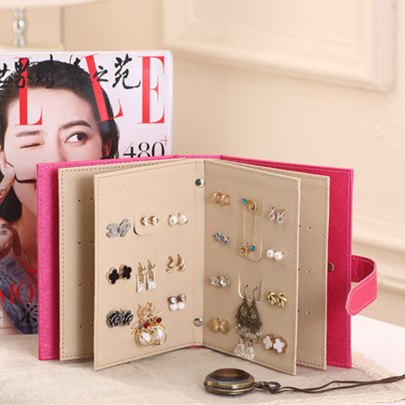 Female Earrings Collection Pu Leather Earrings Storage Box Creative Jewelry Support Jewelry Organization Jewelry