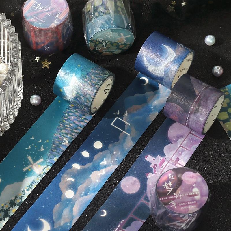Fairyland washi fita lua baleia washi mascaramento fitas decorativas para diy decoração planejadores scrapbooking adesivo festa da escola fornecimento
