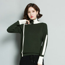 Women Elegant Warm Pullover Sweaters Black White Green Patchwork Wool Blend Knitted Tops High Collar Knitwear Oufits
