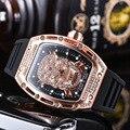 Herren Uhren Männlichen Geist Kopf Intarsien Diamant Chronograph Multi-Funktion Silikon Strap Richard Mann Armbanduhr