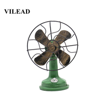 VILEAD 17cm Resin Electric Fan Figurines Fresh And Simple Nostalgic Ornaments Crafts Living Room Christmas Decorations for Home