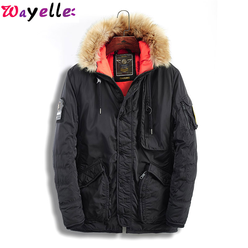 2019 Fur Hooded Warm Trench Coats Camouflage Tactical Army Korean Parka  Winter Male Windbreaker Military Down Jacket Overcoats