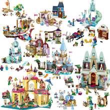 Disney princesa castelo blocos de construção neve rainha elsa anna cinderela ariel figura compatível lepining amigo tijolos modelo brinquedos