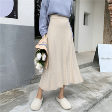 Elegant Ladies Skirts Womens Korean Style Knitted Skirt Winter Autumn Vintage High Street Chic Waist Black Apricot