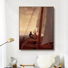 Canvas Art Oil Painting《On a Sailing Boat》Caspar David Friedrich Art Poster Wall Decor Modern Home Decoration For Living room