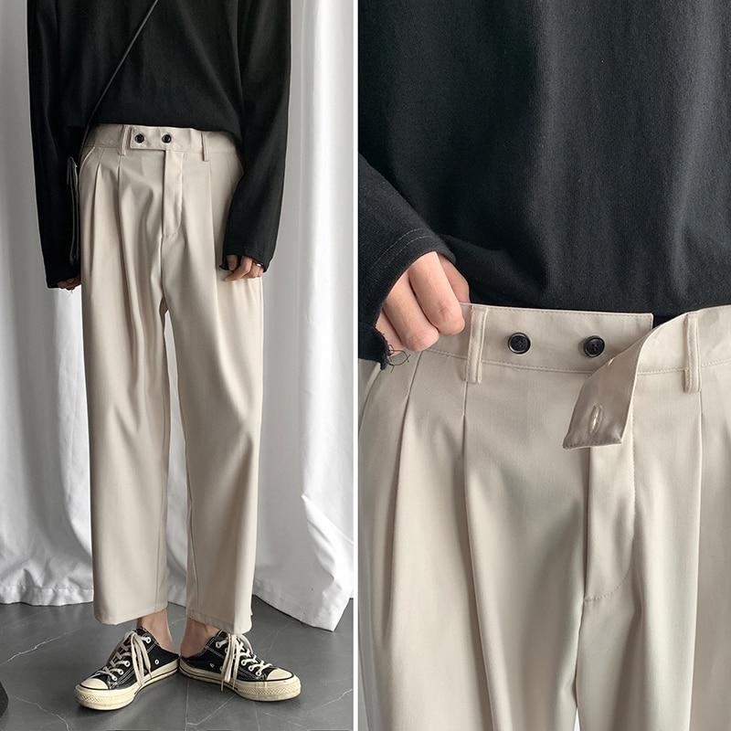 Men's Fashion Wide Leg Pants Male Leisure Casual Pants High-quality Grey/black/Rice White Color Loose Trousers Plus Size S-XL