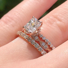3Pcs/Set Bridal Rose Gold Zircon Wedding Ring Set White Crystal Zircon Rings Anniversary Engagement Jewelry Lover's Gifts new arrival fashion 2 pcs set rose gold rings set white crystal oval ring for women anniversary engagement ring jewelry gifts