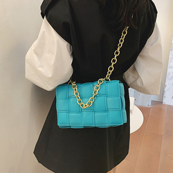 Weave Leather Bag for Women Plaid Handbags Small Square Tote Shoulder Bags Female Gold Chain Crossbody Bag Sac A Main Femme 2020