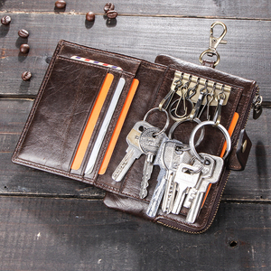 Image 2 - CONTACTS en cuir véritable hommes clé portefeuille avec fermeture à glissière porte monnaie crédit support de carte rfid court portefeuille affaires mâle voiture porte clés