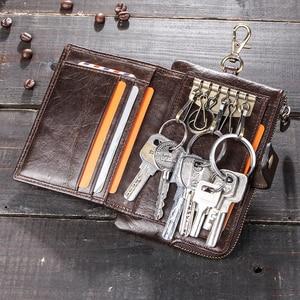 Image 2 - Portafoglio portachiavi da uomo in vera pelle di contatto con portamonete con cerniera porta carte di credito portafoglio corto rfid portachiavi per auto da uomo daffari