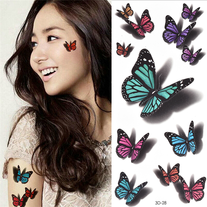 Temporary Tattoos Sticker For Women Body Art Tattoo Sticker 3D Butterfly Rose Flower Feather Tattoo Waterproof Halloween Gift