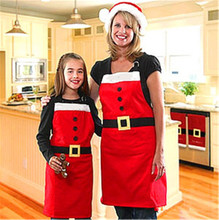 Fashion Creative Christmas Apron Women Men Red Soft Smooth Sleek Cuisine Vestidos Restaurant Avental Kitchen Aprons Dropshipping(China)