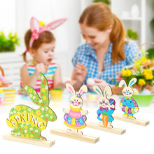 Wooden Bunny Pendant Easter Decoration Wood Rabbit DIY Craft Hanging Ornament for Home Easter Party Decor Supplies