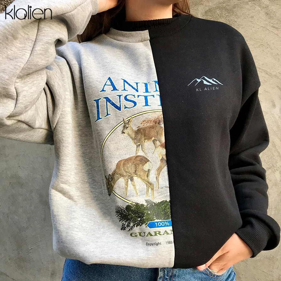 KL ALIEN Black Gray Color Mixing Stitching Half Different Print Women Pullover 2020 Spring Loose Casual Streetwear Sweatshirts