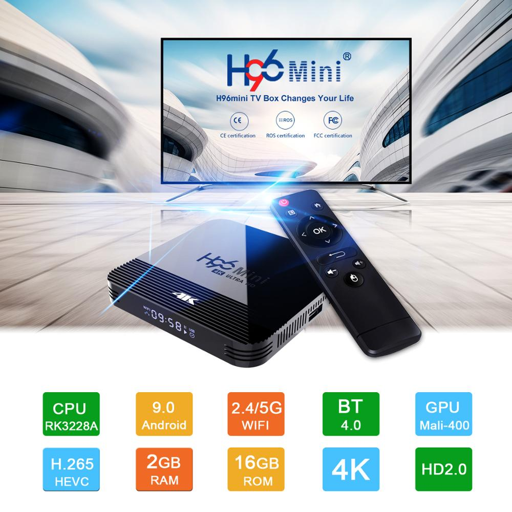 H96 4K HDTV BOX 1080P Android TV Box RK3328A Android 9.0 Smart Set Top BOX RK3328A Quad Core Media Player Support 3D HDMI IPTV