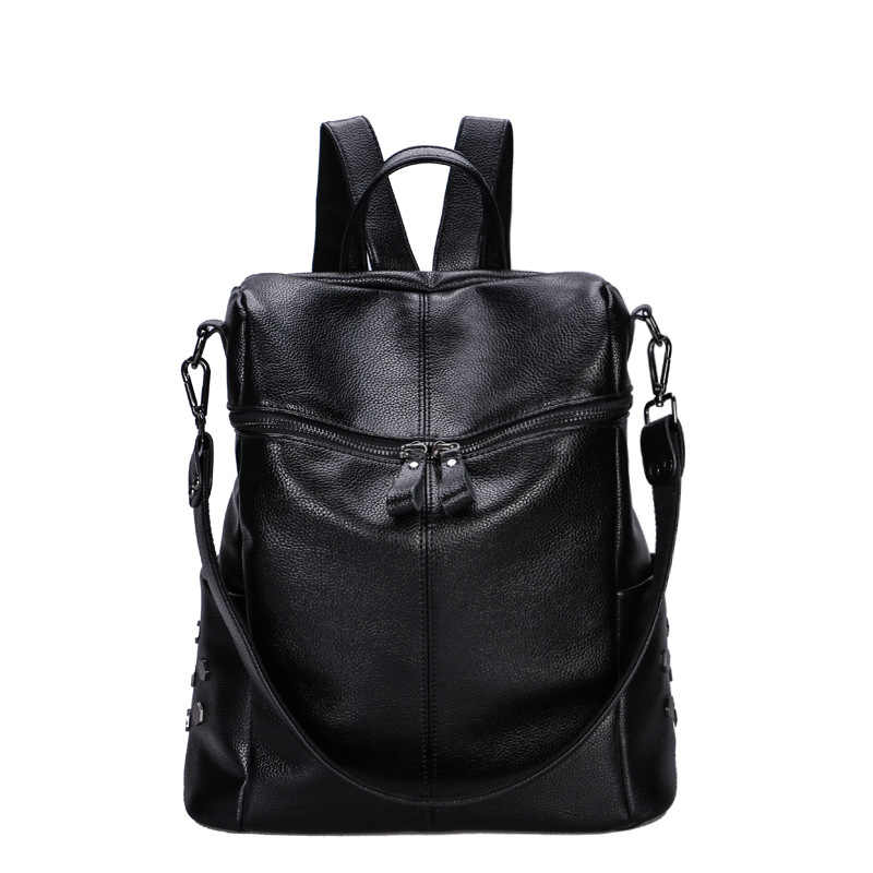 Оригинальные женские кожаные рюкзаки роскошный мягкий рюкзак из натуральной коровьей кожи для девочек черный модный рюкзак женский дизайнерский рюкзак C1163