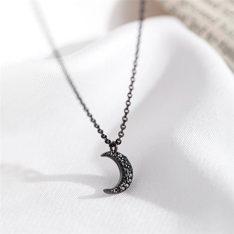 Sole Memory Black Moon Cool Temperament Simple 925 Sterling Silver Clavicle Chain Female Necklace SNE460