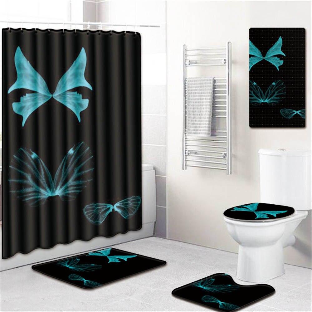 5 шт./компл. 3D занавески для душа с принтом набор водонепроницаемая ткань из полиэстера занавес для ванной комнаты ПВХ Противоскользящий коврик для ванной ковер для украшения дома - 3