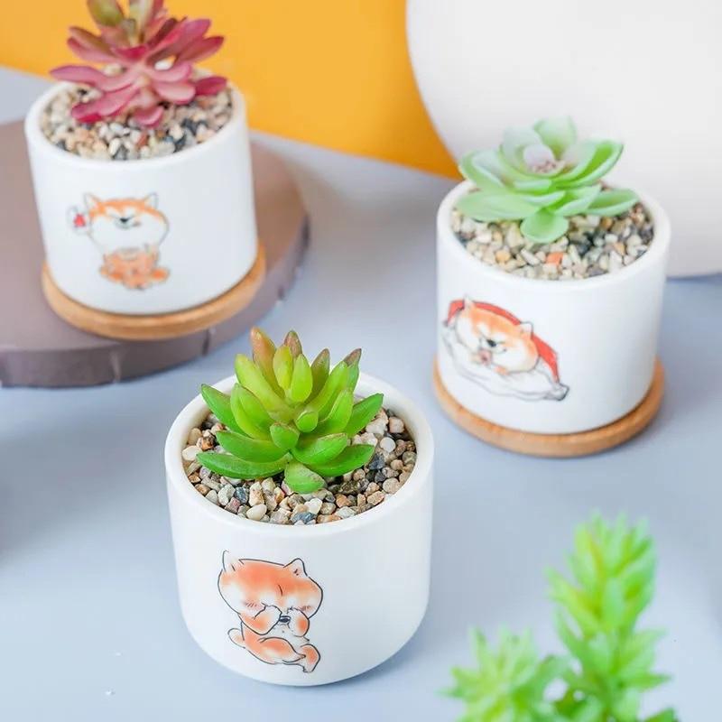 Cartoon Smiling Puppy Ceramic Mini Flower Pot Cute Succulents Green Plant Bonsai Desktop Ornament Creative Home Gardening Just6F