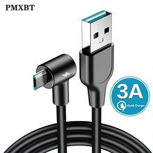 3A USB Cable Charger Fast Charging 90 Degree Elbow Data Micro usb cable