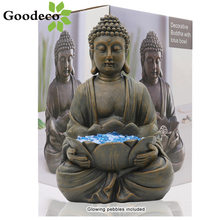 Goodeco Meditating Zen Buddha Statues Sitting Figurine Home Decoration Buda Sculpture Poly resin Ornaments with Lotus Room Decor