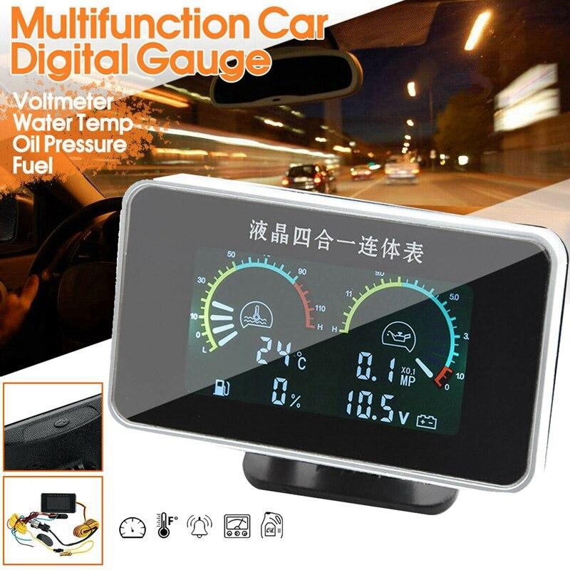 4in 1 LCD Multifunction Car Digital Water Temp Oil Pressure Fuel Gauge Voltmeter