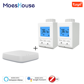 Zigbee Smart TRV Thermostatic Radiator Valve Controller Thermostat Temperature Tuya APP Control Works with Alexa Google Home wifi thermostatic radiator valve digital programmable thermostat for radiator controlled by smartphone app