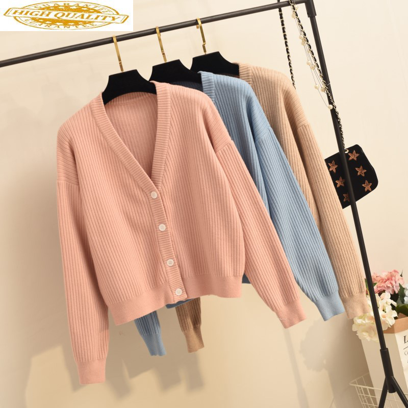 2020 Women's Cardigan Korean Style Knitted Sweater Women Short Pink Black Cardigan Autumn Cardigans Women Tops KJ2753
