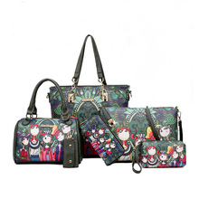 2018 New Style European And American Fashion Printed Six Pieces Set Different Size Bags